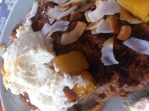 Quinoa pancakes with baked apple and whipped ricotta